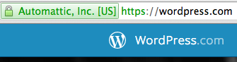 WordPress.com homepage, requiring HTTPS and showing Extended Validation Cert (green bar)